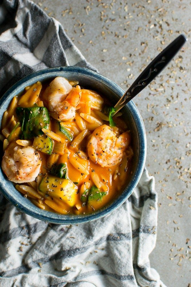Easy Tomato Orzo Soup with Shrimp and Spinach
