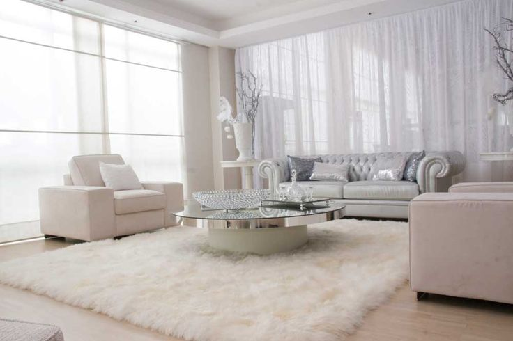 Interior Room Decoration Hd Pic with white sheer curtains with white wall and transparent glass windows combined by white sofa and round glass table on white fur rug