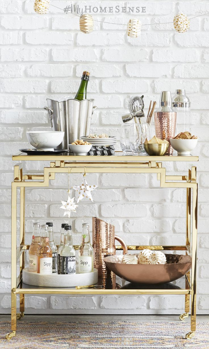Set the style bar high for the new year with #MyHomeSense entertaining essentials. A show-stopping bar cart becomes party central for New Years Eve when stocked with gorgeous cocktail shakers, patterned napkins, and gourmet goodies. Find a HomeSense near you - and don't forget to confirm our holiday hours!