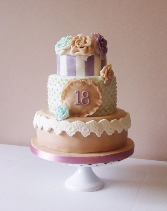 Vintage pastel 18th birthday cake cake designs pinterest for 18th birthday cake decoration