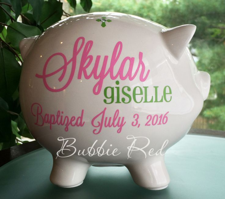 Baptism Gift for Girl, Christening Gift, Dedication gift, Personalized Piggy Bank, Baby Girl Christening Gift, Custom Baptism Gift for Baby by BubbieRed on Etsy