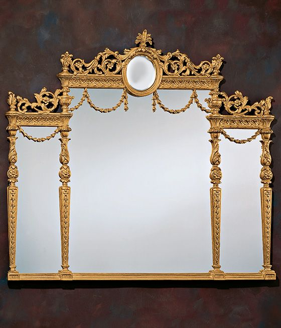 mirror - Adam style - Adam style mirror - Adam style over-mantel mirror in carved wood frame in gold creates a great look if placed over a fireplace mantel