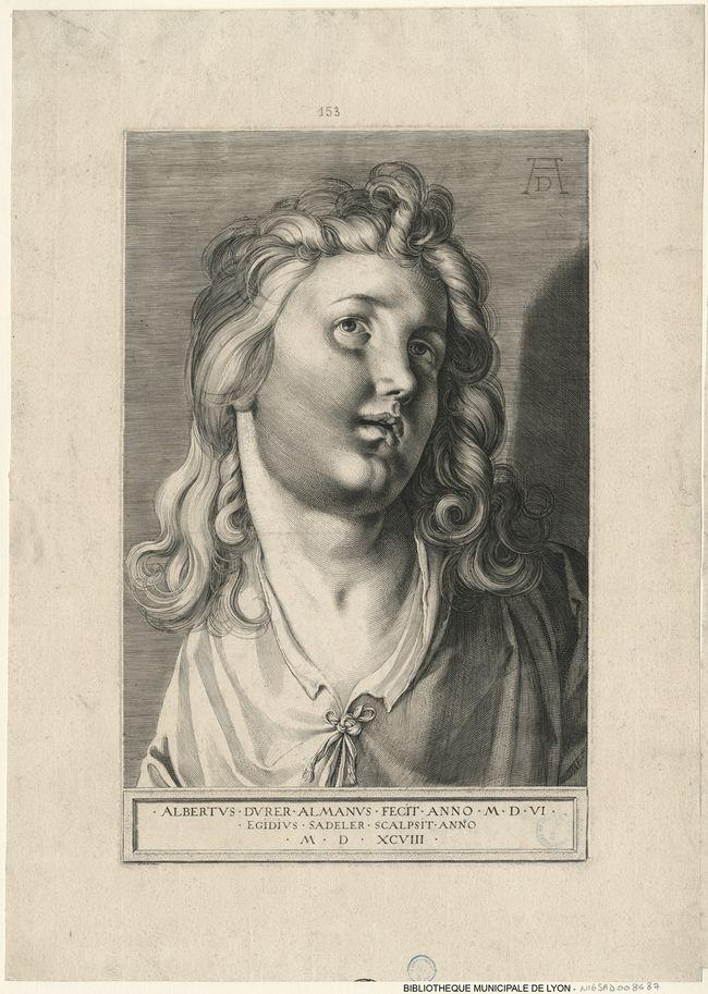Tête d'ange avec de longs cheveux    Auteur(s) : Sadeler, Aegidius, 1570?-1629; Dürer, Albrecht, 1471-1528