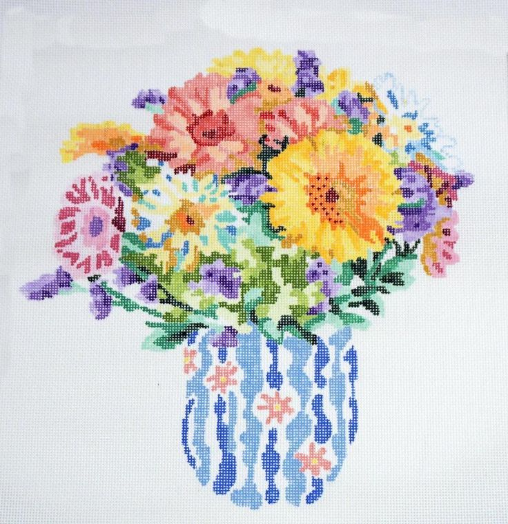 Summer Bouquet LG. handpainted 13m Needlepoint Canvas by Jean Smith's Designs #JeanSmithNeedlepoint