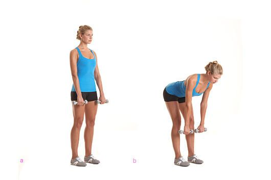 Das Po-Workout: Kurzhantel Kreuzheben mit gestrecktem Bein