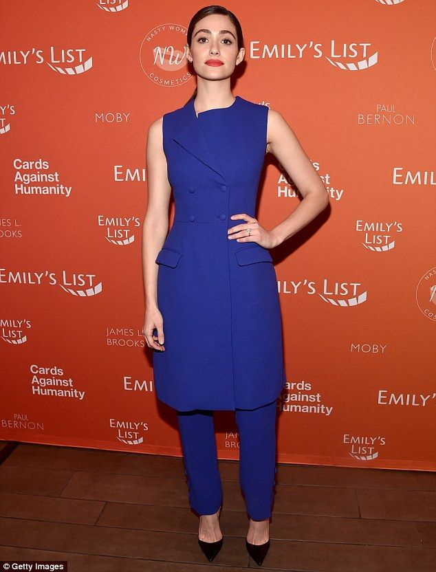 Leaning left! Emmy Rossum showed off her support for the democratic party by donning blue as she joined Chelsea Handler at Emily's List Pre-Oscars Brunch and Panel in Los Angeles