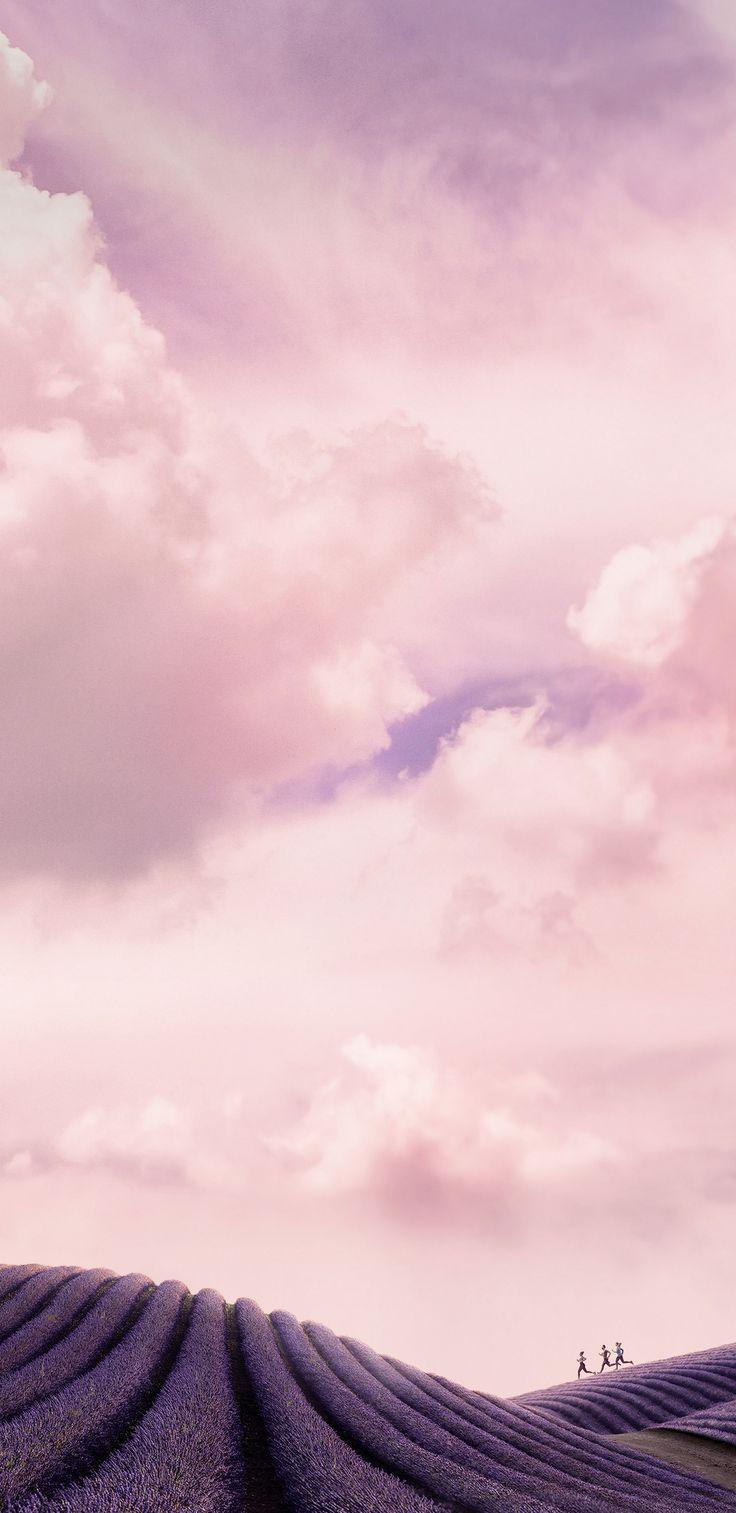 Mountain, hillside, pink, violet, wallpaper, galaxy, tranquil, beauty, nature, Samsung