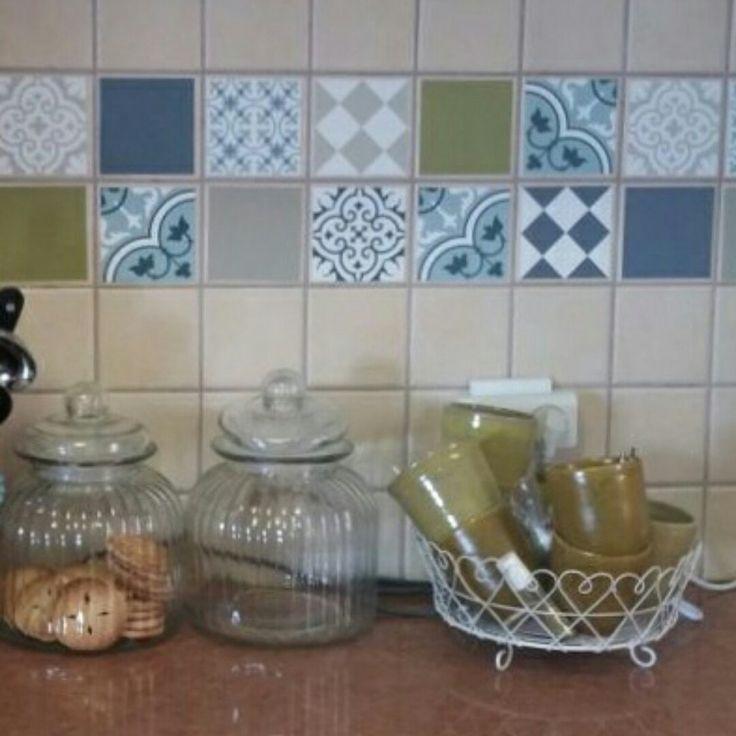 Mix Tile Decals Kitchen/Bathroom Tiles Vinyl Floor Tiles Free Shipping    Design 306