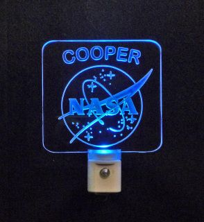 "#personalized #nasa LED Night Light ♦3D Engraved 3/8"" Acrylic ♦ #handmade ♦ Multicolor led lights"