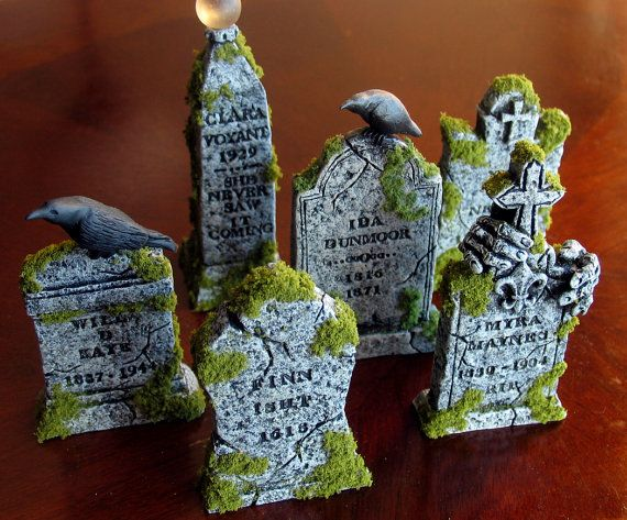 The midnight hour is close at hand. . . Dearly Departed gravestones have been one of our more popular Holiday themed items the last few years, we are happy to introduce these to the shop again in time for Halloween!  This listing is for the individual gravestone shown above  Name: Will D Kaye Style: Perched Raven  4 high, 2 ½  wide and 1 deep   Custom orders with your text or extra details can be accommodated but may take a few weeks or longer. Convo us now to reserve a custom stone. Pricing…