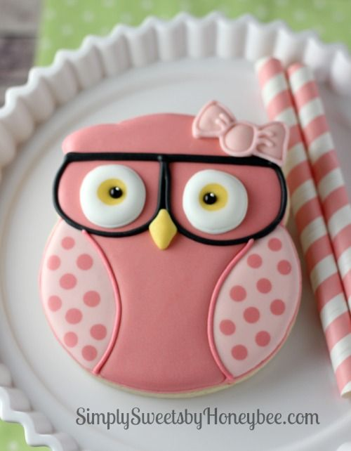 Geeky Girl Owl Cookies - simplysweetsbyhoneybee.com - what a cute idea for a baby shower!