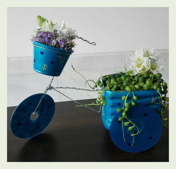 Jardín portátil, suculentas, bicicleta, reciclaje, DIY manualidades, recycle. Beautiful, love, cute.