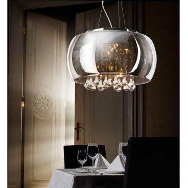Lampa wisząca Burn szklany chromowany klosz wewnątrz bezbarwne kryształy do sypialni salonu jadalni nad stół - LampyTanie - 1179 PLN