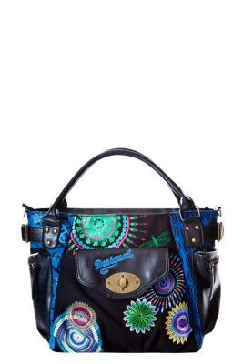 Desigual women's Mcbee Eclipse bag measuring 25.5x14x27cm. We've combined this best-selling shape with blue patterns. Check out the different materials on the pockets.