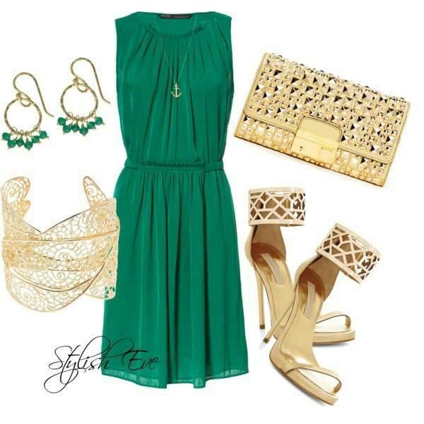 Emerald dress & gold accessories