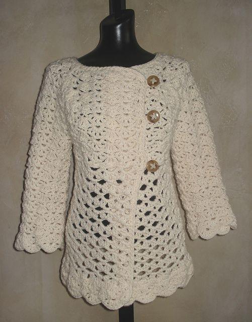 Crochet Cardigan Pattern : Ravelry: #76 Vintage Top-Down Crochet Cardigan pattern by SweaterBabe