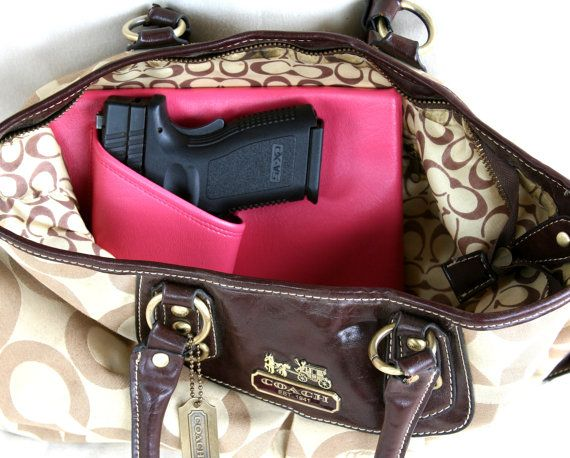 Large Auto Pink Concealed Carry Purse Holster Left Side Ccw Pistol Xd Sig Glock On Etsy 26 95 Hunting Fishing Guns The Outdoors 3 Pinterest