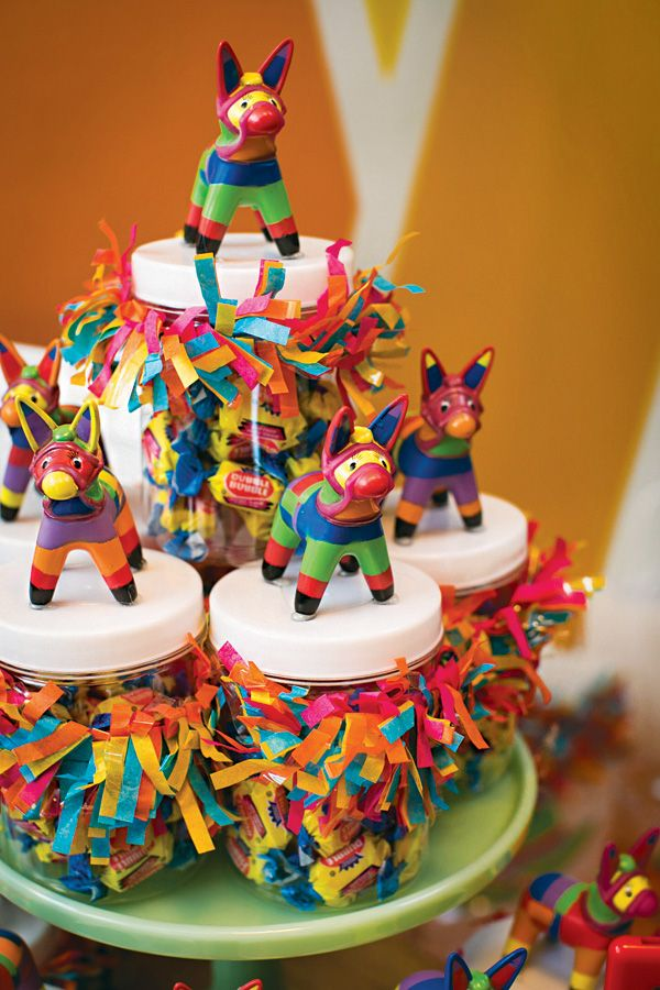 Adorable mini piñata topped candy jars (super simple DIY!)