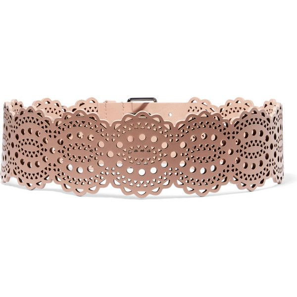 Alaïa Laser-cut leather waist belt (31 915 UAH) ❤ liked on Polyvore featuring accessories, belts, genuine leather belt, 100 leather belt, real leather belts, alaia belt and waist belt