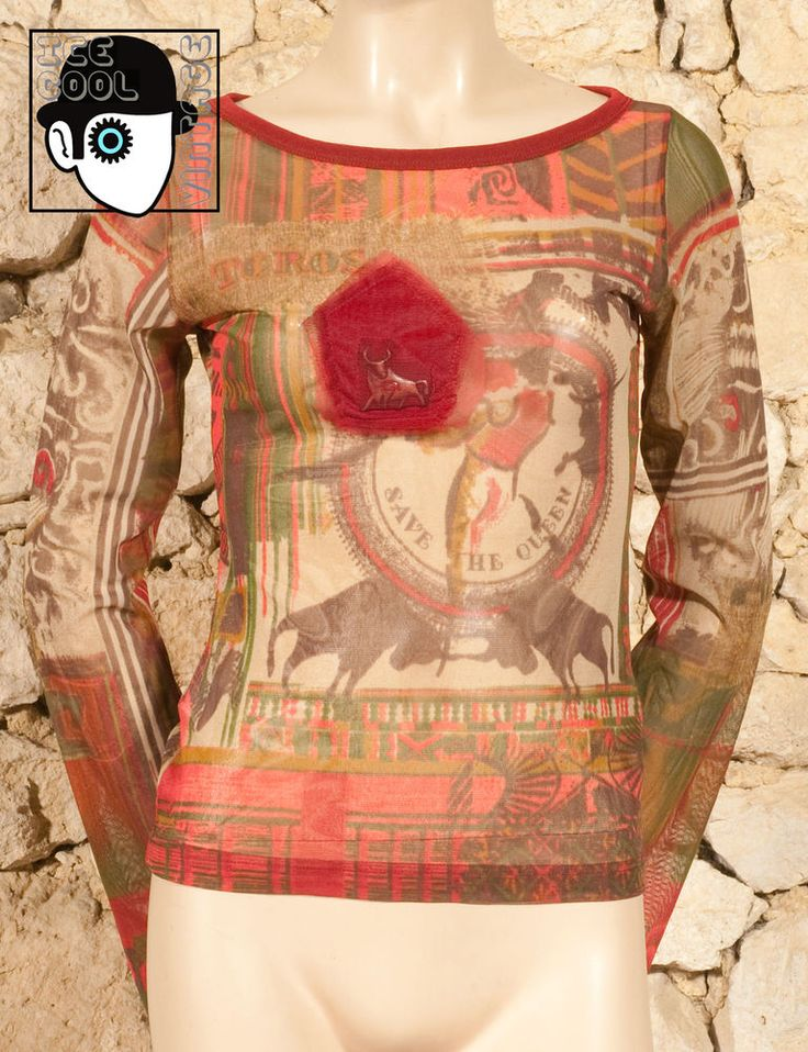 'SAVE THE QUEEN' BULL MEDALION MOTIF TOP - UK 10 or 12 - (Q) #SaveTheQueen