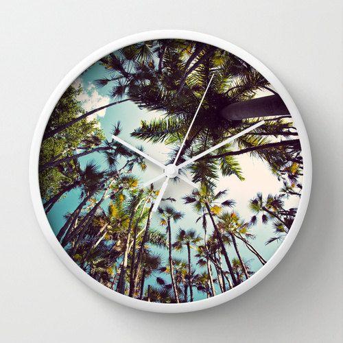 Wanduhr, Palmen - Surf-Dekor