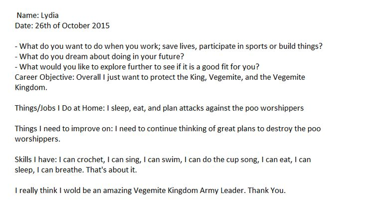 So this is my Resume for Vegemite Kingdom Army Leader. Please do not repin thank you :)
