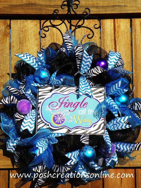 Whimsical Christmas Wreath, Zebra Wreath, Christmas Sale, Free Shipping, Jingle Bells Wreath, New years wreath, on Etsy, $55.00
