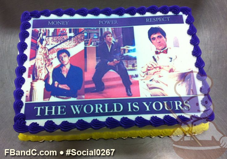 Th Birthday Cake With Blue Trim