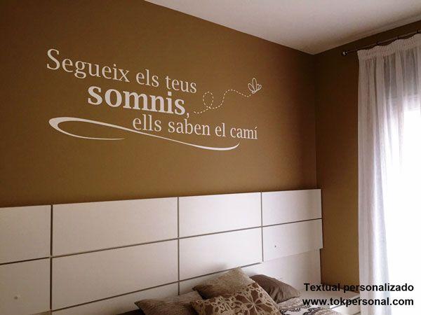 Vinilo decorativo personalizado con el texto e idioma a for Vinilo cabecero cama