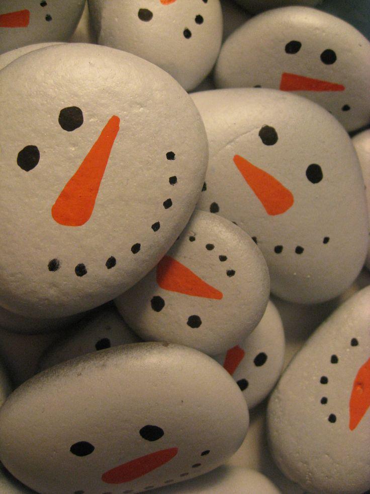 Painted Snowmen Lake Superior Stones 5 by TheTroveShoppe on Etsy