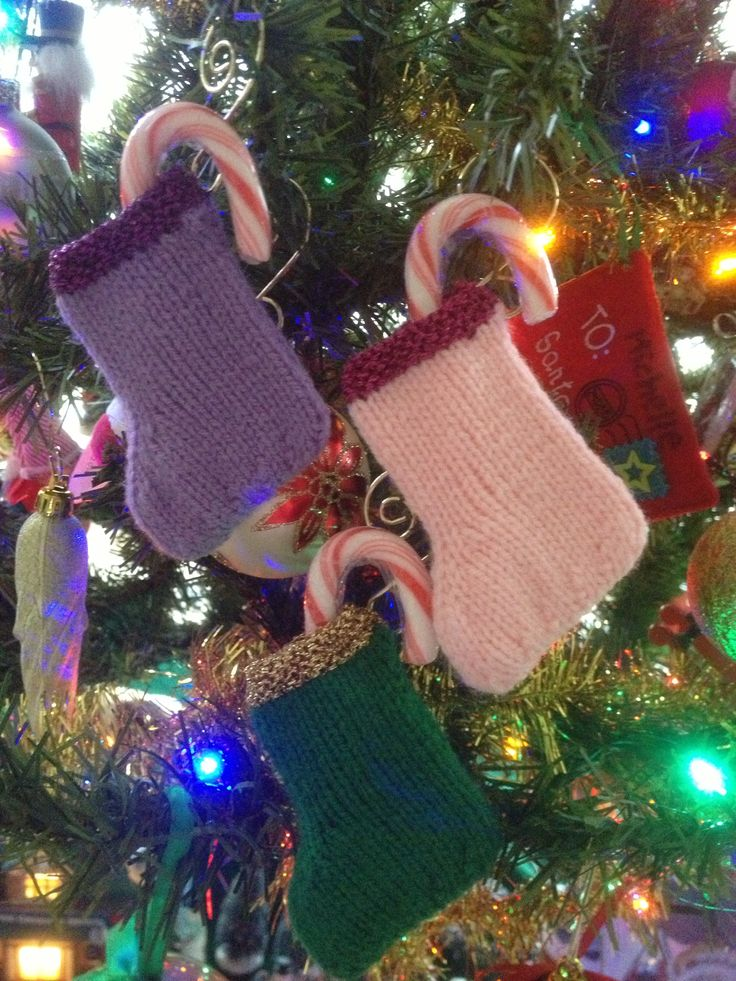 Quick & easy stocking ornaments I made for our tree. Great for holding candy cane treats <3