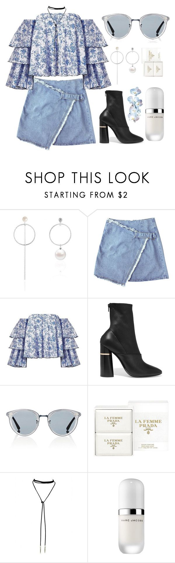 """July 4, 2017"" by madelynn-gv ❤ liked on Polyvore featuring Caroline Constas, 3.1 Phillip Lim, Oliver Peoples, Prada, Bølo and Marc Jacobs"