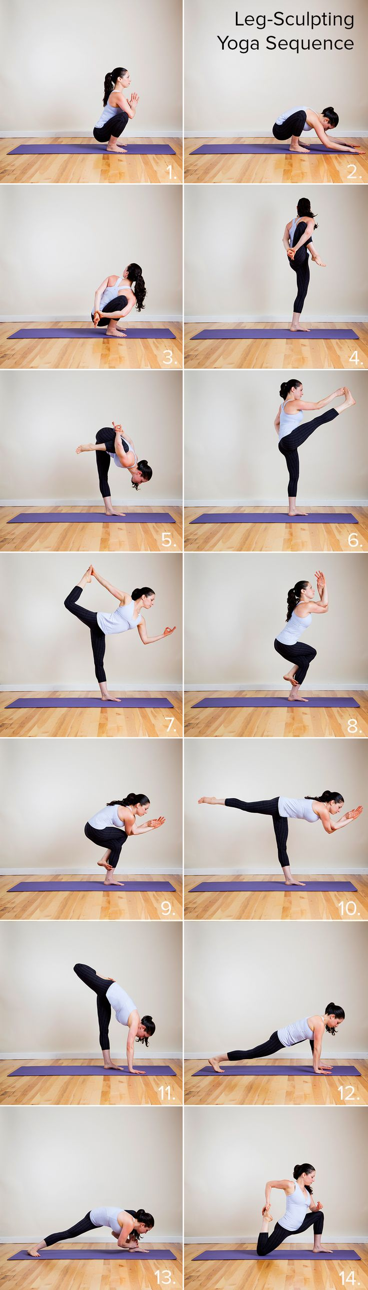 Yoga sequences for hot legs! It's full of standing poses to work your thighs from all angles.