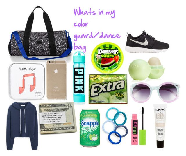 """""""Whats in my color guard/dance bag"""" by lilyayresrose ❤ liked on Polyvore featuring Victoria's Secret PINK, Tildon, Eos, NIKE, MANGO, L. Erickson, Maybelline, NYX, colorguard and lilyrose"""