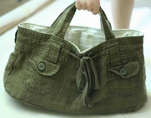 make a bag from shorts