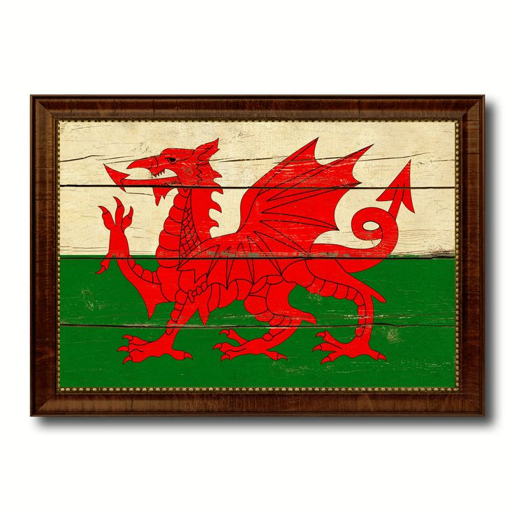 Wales Country Flag Vintage Canvas Print with Brown Picture Frame Home Decor Gifts Wall Art Decoration Artwork