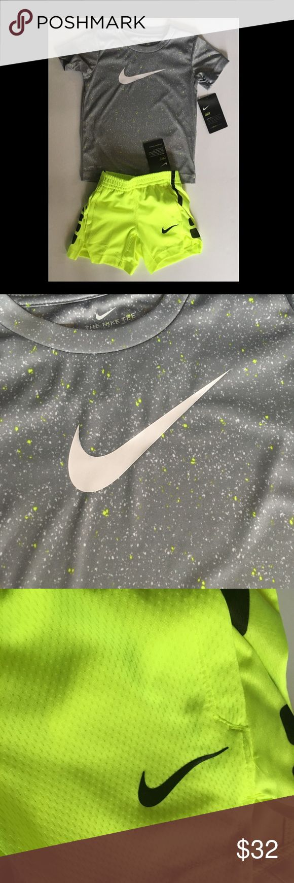 NWT Boys 2T Nike shirt and shorts NWT Boys or girls 2T Nike shirt and basketball shorts   Gray shirt with speckles of neon green. Shorts are neon green.  Thanks for looking! Nike Matching Sets