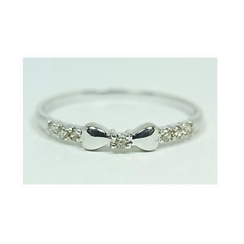 指輪 > ピンキーリング > ☆可愛いリボンにダイヤモンドK10WGピンキーリング