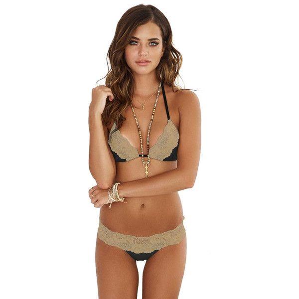Beach Bunny Lady Lace Bikini Set Black Gold (360 BAM) ❤ liked on Polyvore featuring swimwear, bikinis, triangle swim wear, lace two piece, gold triangle bikini, gold swimwear and triangle bikinis