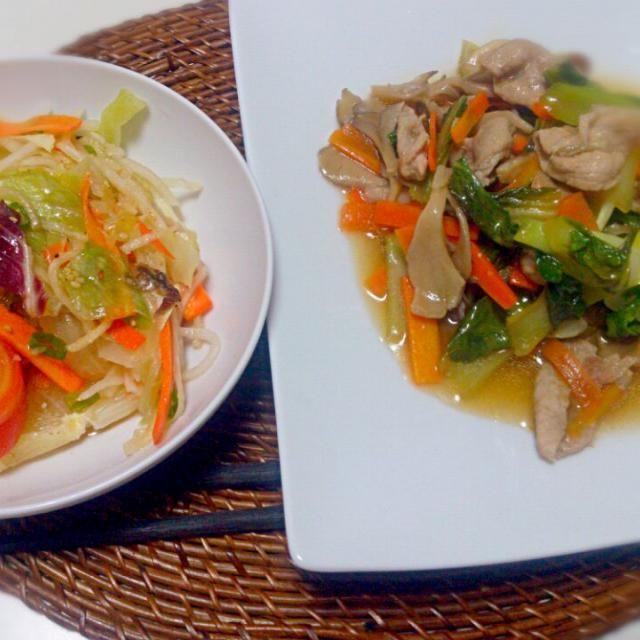 ダイエット中。。。 - 2件のもぐもぐ - 豚肉チンゲン菜中華炒め レタスサラダ by nyaromechan