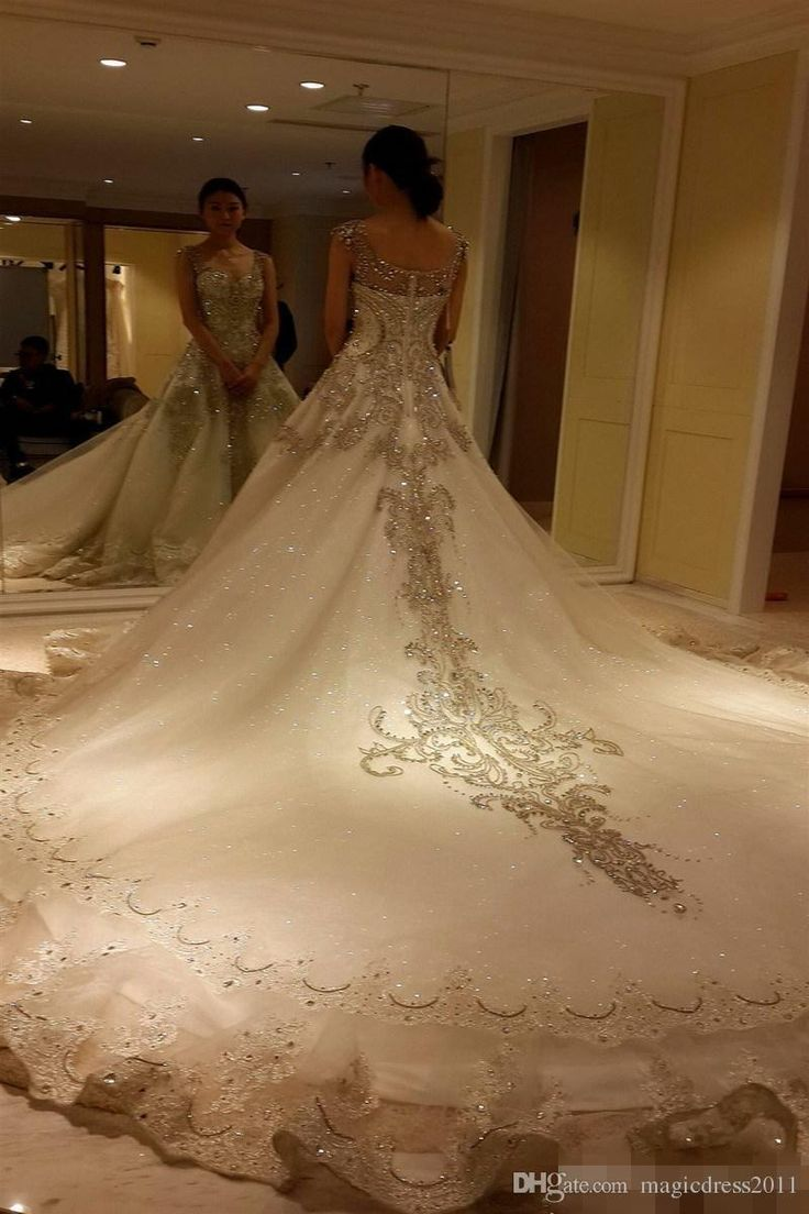 Luxury Cathedral Train Cinderella 2016 Wedding Dresses With Sweetheart Straps Beaded Crystal Rhinestone Illusion Princess Bridal Ball Gowns