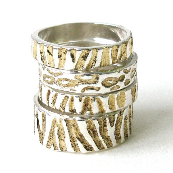Wide Zebra Ring with 22k detail by JewelrybySteveRiley on Etsy, $110.00
