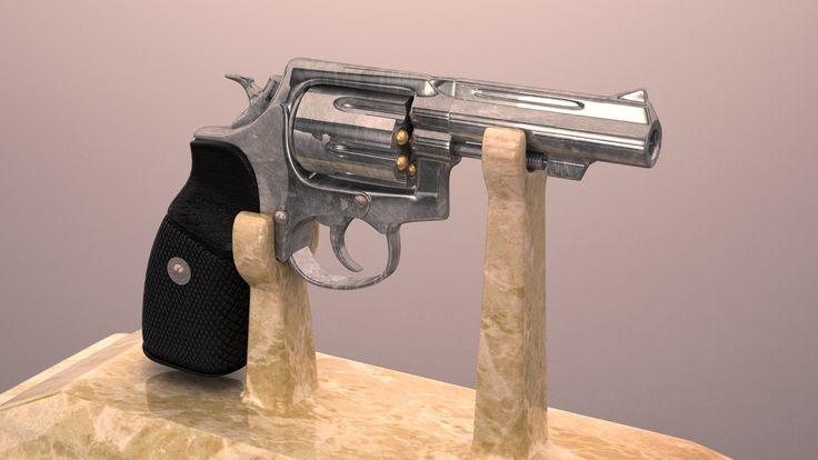 Modelling Revolver + V-ray