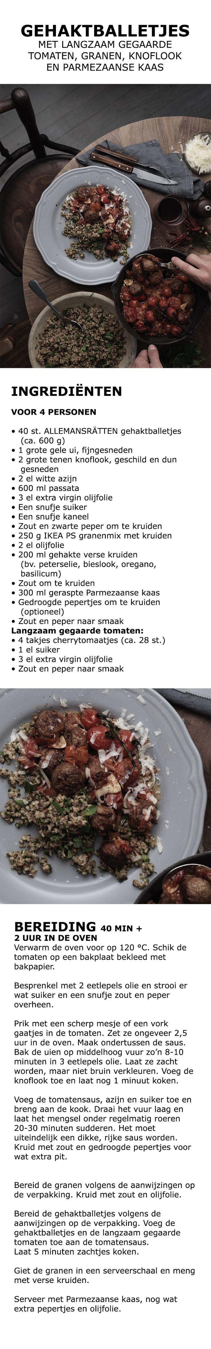 Inspiratie voor de feestdagen - Gehaktballetjes met langzaam gegaarde tomaten, granen, knoflook en Parmezaanse kaas | IKEA IKEAnederland koken keuken recept herfst winter kerst diner lunch knoflook passata suiker kaneel kruiden