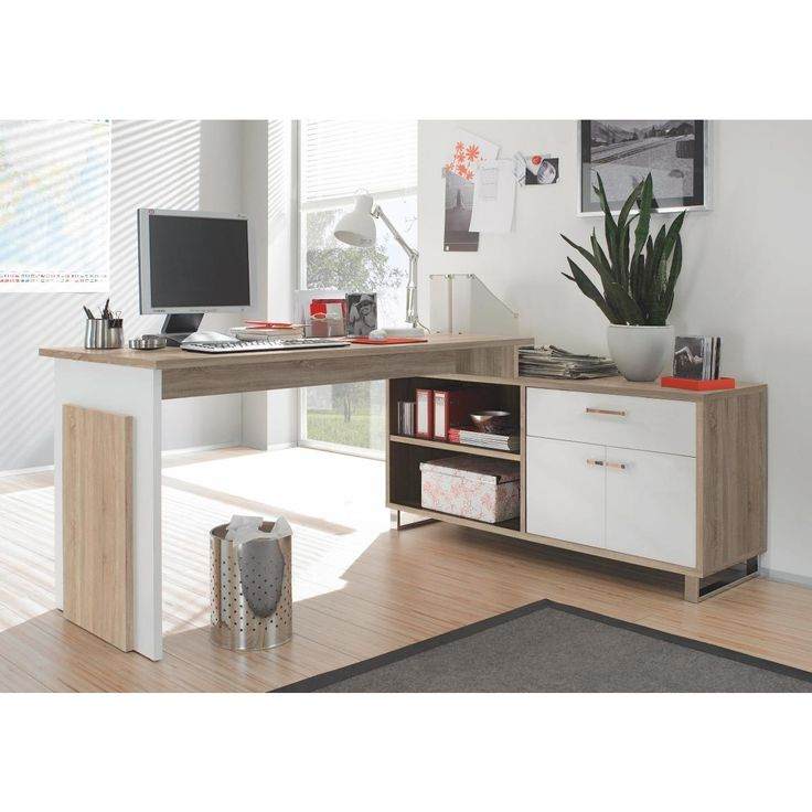 Dieser innovative und praktische Schreibtisch in Sonoma-Eiche-Nachbildung mit weißen Absetzungen ist aufgrund seines Aufbaus ideal für einen platzsparenden Eckarbeitsplatz geeignet. Durch die Metallfüße überzeugt das Möbelstück mit schlichter Eleganz.  Ein großer Schreibtisch bietet genügend Raum für einen Laptop, Ordner und Schreibutensilien. Ein Sideboard, welches rechts an dem Schreibtisch angeschlossen ist, bietet einen geräumigen Schubkasten, zwei Türen und zwei offene Ablagefächer. ...