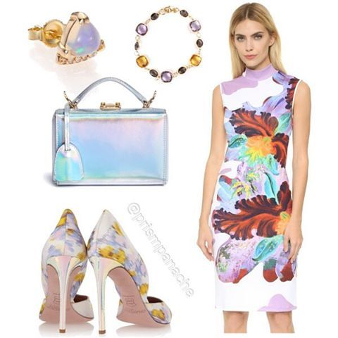 Happy *Holographic* Easter⭐️ #CloverCanyon Surreal Bloom Dress // PHYNE by #PaigeNovick Marta #Moonstone Stud Earring // #Amethyst Smoky Quartz and #Citrine Bracelet // #MarkCross Grace Mini Box #Holographic Leather Trunk Purse // #GiambattistaValli Printed Faille Pumps with Holographic Perspex Heel #easterdress #easterfashion #springstyle #springfashion #springflorals #holographicpurse #holographicshoes #moonstonering #crystalbracelet #clovercanyondress #polyvore #prismpanache @prismpanache