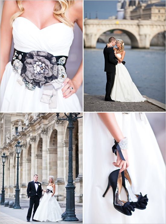 Black and white wedding ideas. I like the idea of a black belt around the dress, just not this one (yuck) and accessorize with black shoes.
