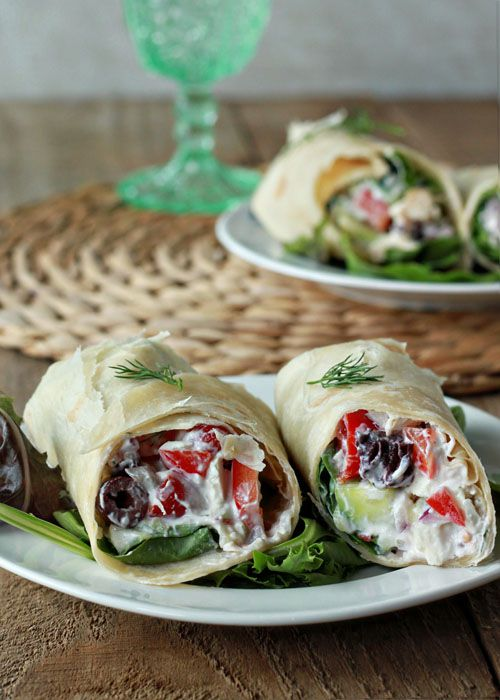 For our picnic in the park tomorrow- will have it with homemade hummus and chips Creamy Greek Salad Sandwich Wraps with Optional Chicken   Kitchen Treaty