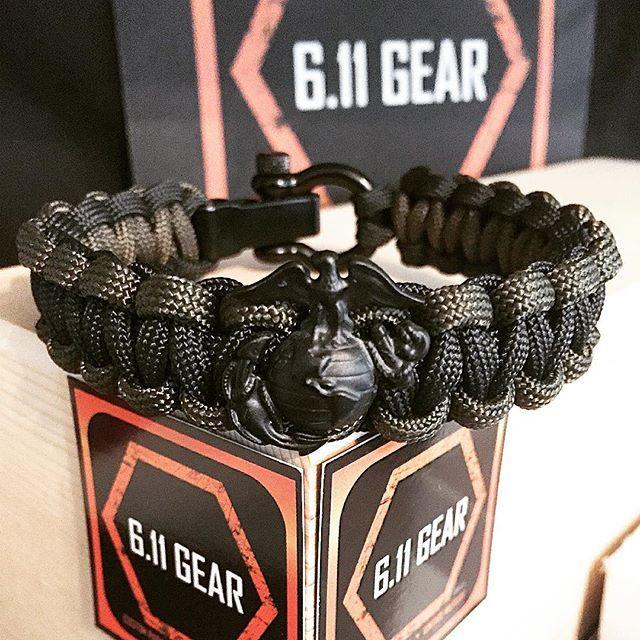 EGA OD Green//Black Single Braid Paracord Bracelet USMC