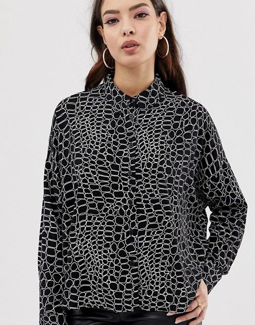 ce330026 ASOS DESIGN | ASOS DESIGN cropped long sleeve shirt in crocodile print